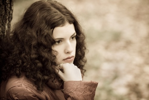 Portrait of the beautiful thoughtful girl. Autumn, grief, dreams and tenderness.